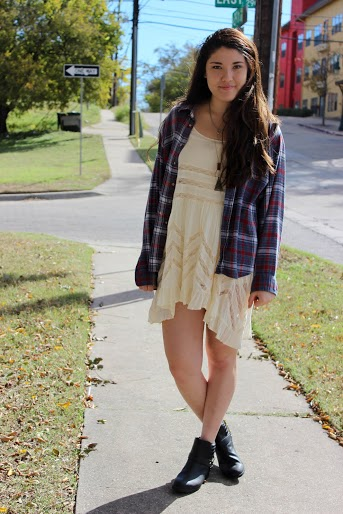 Going lighter for fall  Thrift store flannel, Free People dress and H&M boots. Modeled by Rochelle Friedewald.