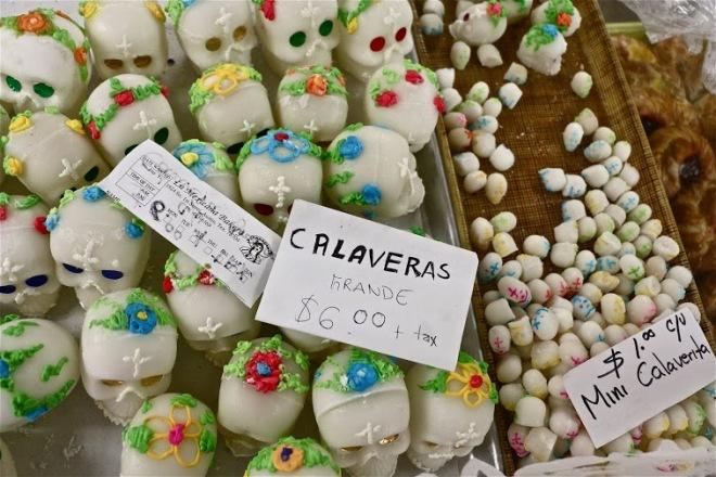 Tradtitional Dia De Los Muertos sugar skulls at La Mexicana Bakery.