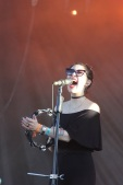 Dee Dee of Dum Dum Girls lets out a high note during their set on Sunday.
