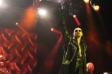 "Rob Halford of Judas Priest flashes the beloved ""devil horns,"" a universal salute to heavy metal, Friday night on the Black Stage.​"